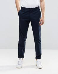 Vito Skinny Cotton Suit Trousers Navy