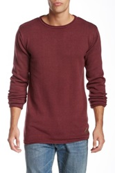 Shine Rolled Crew Neck Knit Long Sleeve Sweater Red