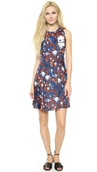 Thakoon Knotted Shoulder Dress Ivory Bllue Electric Coral