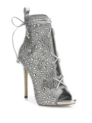 Giuseppe Zanotti Jlo 110 Crystal Embellished Suede Lace Up Booties