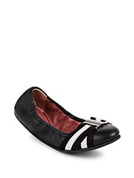 Bally Tippy Leather Striped Flats Black