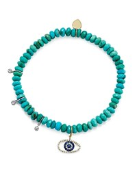 Meira T 14K White And Yellow Gold Turquoise Beaded Bracelet With Sapphire And Diamond Evil Eye Charm Blue Gold