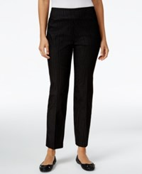 Alfred Dunner Petite Theater District Pinstripe Pants Black