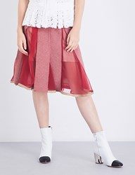 Sacai Houndstooth A Line Wool Blend Skirt Pink Red Brown