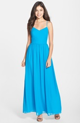 Adelyn Rae Chiffon Fit And Flare Maxi Dress Cyan