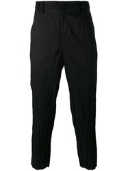 Issey Miyake Men Creased Cuffs Loose Fit Trousers Black