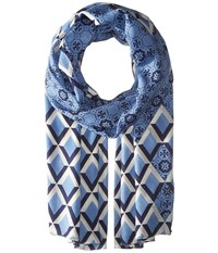 Tory Burch Logo Mosaic And Signature Print Oblong Montego Blue Scarves