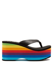 Es X Rd Paradise Leather Platform Flip Flops Black Multi