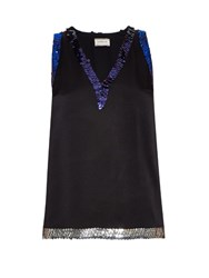 Lanvin Sequin Embellished Satin Top Black Multi