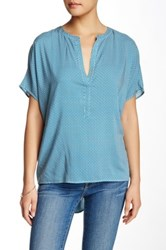 Zoa Short Sleeve Hi Lo Blouse Blue