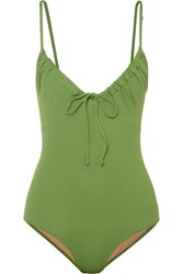 Three Graces London Cleo Ruched Swimsuit Green