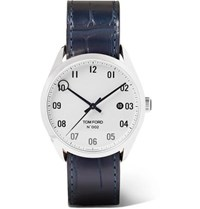 Tom Ford Timepieces 002 40Mm Stainless Steel And Alligator Watch White