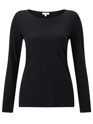 Jigsaw Pima Cotton Long Sleeve Crew Tee Black
