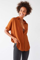 Urban Outfitters Uo Oversized Short Sleeve Button Down Top Bronze