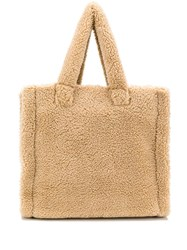 Stand Studio Shearling Tote Bag Neutrals