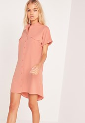 Missguided Short Sleeve Pocket Shirt Dress Nude Mauve