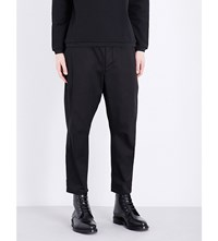 Oamc Mid Rise Dropped Crotch Waxed Cotton Trousers Black