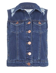 Miss Selfridge Button Front Denim Vest Navy Blue