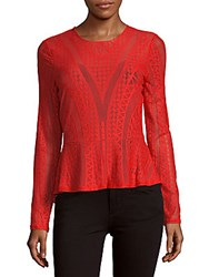 Bcbgmaxazria Long Sleeve Knit Peplum Top Scarlet