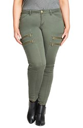 City Chic Plus Size Women's Commando Zip Skinny Pants Khaki Army