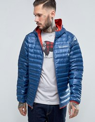 Columbia Flash Forward Down Jacket Hooded Lightweight Quilt Night Tide Red Navy