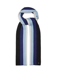 Charlotte Simone Striped Wool And Cashmere Blend Scarf Blue