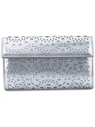 Alaia Laser Cut Leather Pouch Metallic