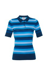 Holly Fulton Short Sleeve Striped Polo Shirt Blue