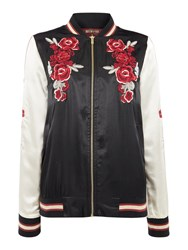 Biba Embroidered Satin Bomber Jacket Berry
