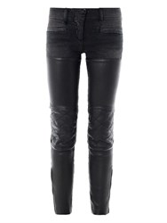 R 13 Leather Chaps Mid Rise Skinny Biker Jeans Black