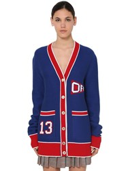 Off White University Flag Wool Blend Knit Cardigan Blue