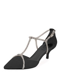 Rene Caovilla Suede Pumps With Strass Cage Black