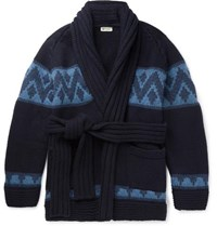 Connolly Beach Belted Intarsia Cashmere Cardigan Navy