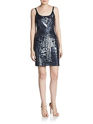 Adrianna Papell Deco Beaded Tank Dress Gunmetal