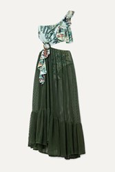 Patbo Eden One Shoulder Printed Stretch Jersey And Cotton Blend Mesh Maxi Dress Army Green