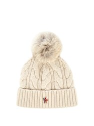 Moncler Fur Pompom Knitted Beanie Hat Beige