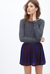 Forever 21 Plaid Knit Skater Skirt