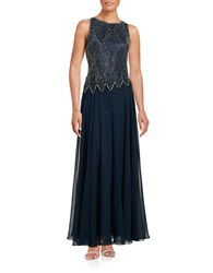 J Kara Sleeveless Beaded Popover Gown Navy