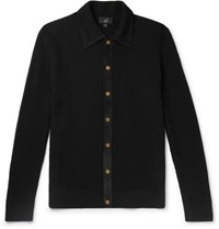 Dunhill Suede Trimmed Ribbed Merino Wool Cardigan Black