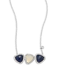 Meira T Diamond Blue Sapphire Chalcedony And 14K White Gold Pendant Necklace No Color