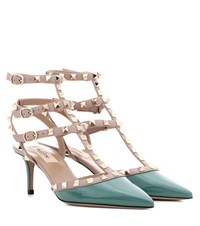 Valentino Rockstud Patent Leather Sandals Green