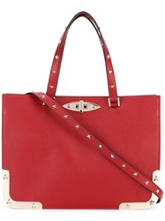 Red Valentino Star Studded Structured Tote Women Calf Leather Metal One Size