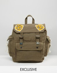 Reclaimed Vintage Backpack With Tiger Badges Green