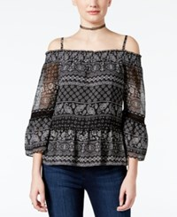 Amy Byer Bcx Juniors' Printed Off The Shoulder Top Paisley Stripe
