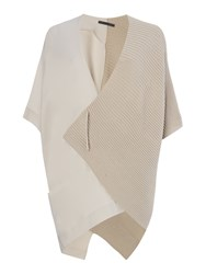 Crea Concept Half Ribbed Cardigan With Pin Beige