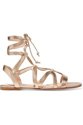 Gianvito Rossi Lace Up Metallic Leather Sandals Gold