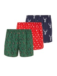 John Lewis Stag Print Cotton Boxers Pack Of 3 Green Red Blue