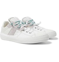 Maison Martin Margiela Replica Suede And Leather Trimmed Canvas And Shell Slip On Sneakers White