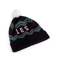 Tuck Shop Co. Les Striped Pompom Beanie Black