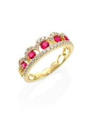 Meira T Diamond Ruby And 14K Yellow Gold Ring Gold Ruby
